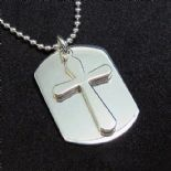 Silver Dog Tag ID Pendant with Cross, ref. DTIDC
